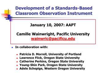 Development of a Standards-Based Classroom Observation Instrument