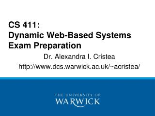 CS 411:  Dynamic Web-Based Systems Exam Preparation
