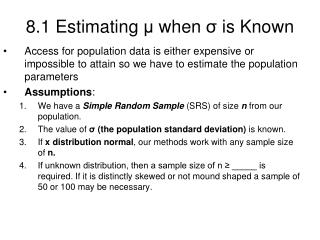 8.1 Estimating  ?  when  ?  is Known