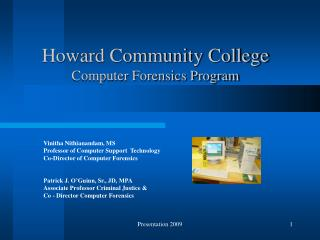 Howard Community College  Computer Forensics Program