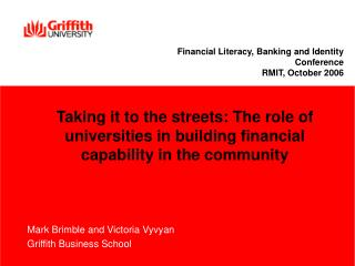 Mark Brimble and Victoria Vyvyan Griffith Business School