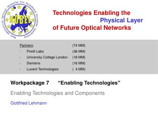 "Workpackage 7	""Enabling Technologies""  Enabling Technologies and Components Gottfried Lehmann"