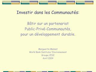 Investir dans les Communautés: