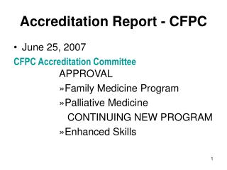 Accreditation Report - CFPC