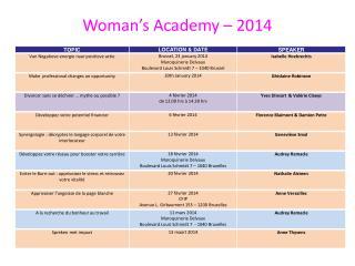 Woman's Academy – 2014