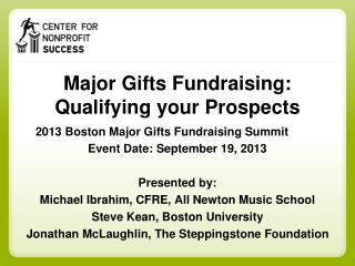 Major Gifts Fundraising: Qualifying your Prospects