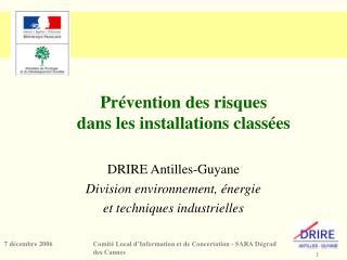 Prévention des risques  dans les installations classées