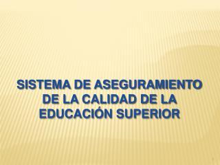 SISTEMA DE ASEGURAMIENTO DE LA CALIDAD DE LA EDUCACIÓN SUPERIOR