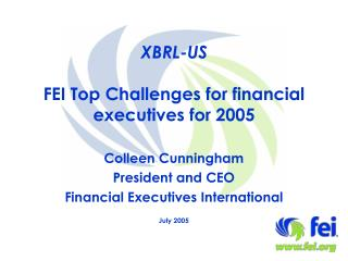 XBRL-US FEI Top Challenges for financial executives for 2005