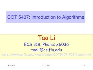 COT 5407: Introduction to Algorithms