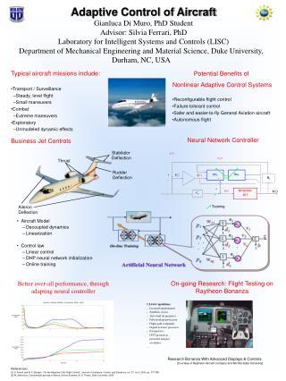 Adaptive Control of Aircraft Gianluca Di Muro, PhD Student Advisor: Silvia Ferrari, PhD