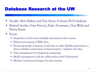 Database Research at the UW