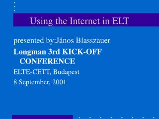 Using the Internet in ELT