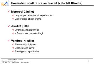 Formation souffrance au travail (cgt/cfdt Rhodia)