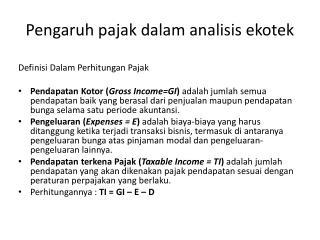 Pengaruh pajak dalam analisis ekotek