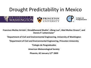Drought Predictability in Mexico