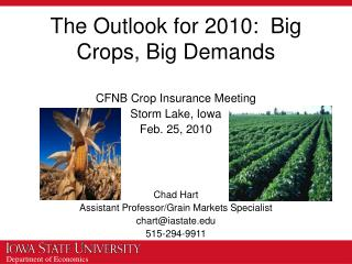 The Outlook for 2010:  Big Crops, Big Demands