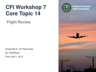 CFI Workshop 7 Core Topic 14