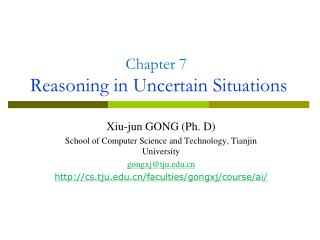 Chapter 7 Reasoning in Uncertain Situations