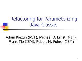 Refactoring for Parameterizing Java Classes