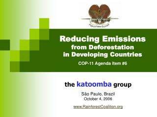 Reducing Emissions from Deforestation                in Developing Countries COP-11 Agenda Item #6