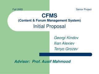 CFMS (Content & Forum Management System) Initial Proposal