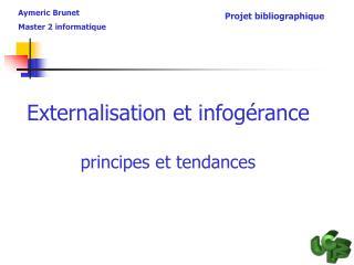 Externalisation et infogérance principes et tendances