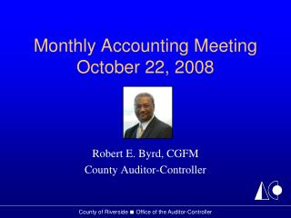 Monthly Accounting Meeting October 22, 2008