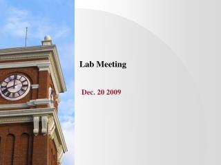 Lab Meeting Dec. 20 2009