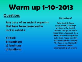 Warm up 1-10-2013