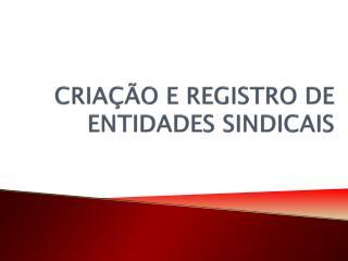 CRIAÇÃO E REGISTRO DE ENTIDADES SINDICAIS