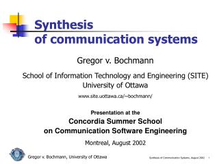 Synthesis  of communication systems