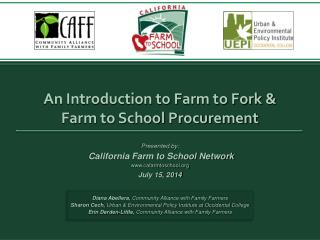 An Introduction to Farm to Fork &  Farm to School Procurement