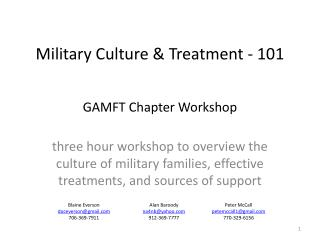 Military Culture & Treatment - 101 GAMFT Chapter Workshop