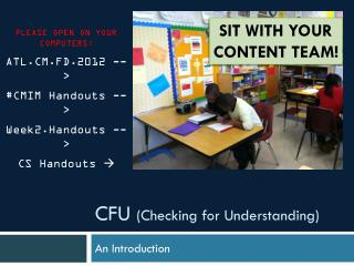CFU  (Checking for Understanding)