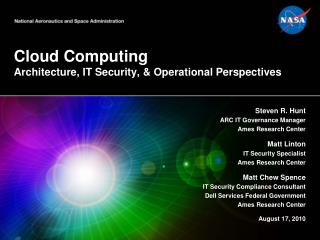 Cloud Computing Architecture, IT Security, & Operational Perspectives