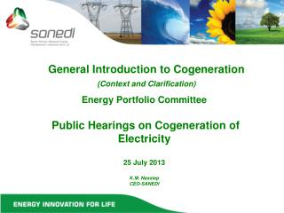 General Introduction to Cogeneration (Context and Clarification)