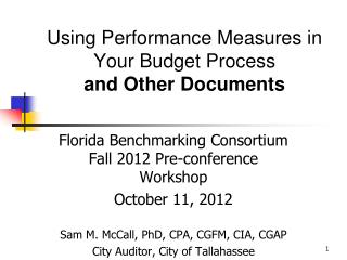 Using Performance Measures in Your Budget Process  and Other Documents