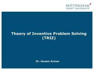 Theory of Inventive Problem Solving TRIZ