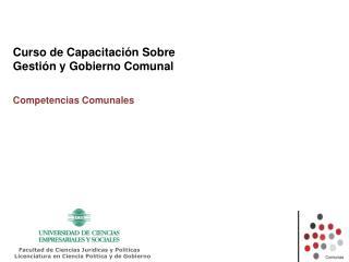 Curso de Capacitación Sobre  Gestión y Gobierno Comunal