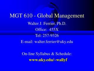MGT 610 - Global Management