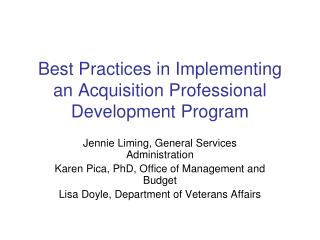 Best Practices in Implementing an Acquisition Professional Development Program