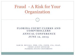 Fraud  - A Risk for Your Organization
