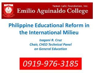 Philippine Educational Reform in the International Milieu