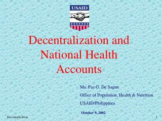 Decentralization and National Health Accounts