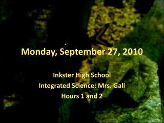 Monday, September 27, 2010