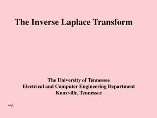 The Inverse Laplace Transform