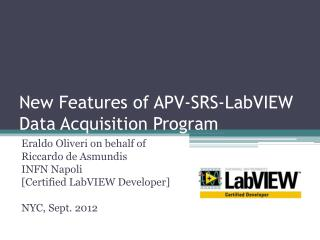 New  Features  of APV-SRS- LabVIEW Data  Acquisition  Program