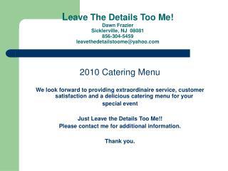 2010 Catering Menu