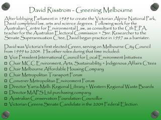 David Risstrom - Greening Melbourne